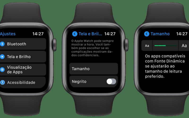 Ajustando o tamanho da fonte pelo Apple Watch