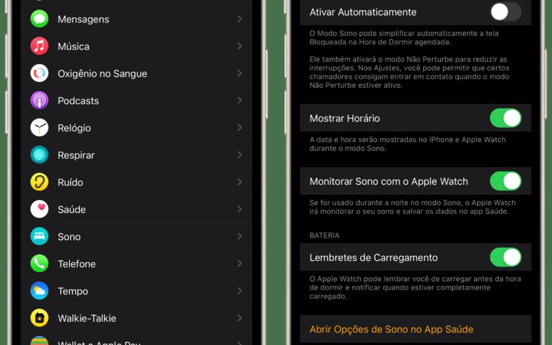 Lembretes de carregamento do Apple Watch no iPhone