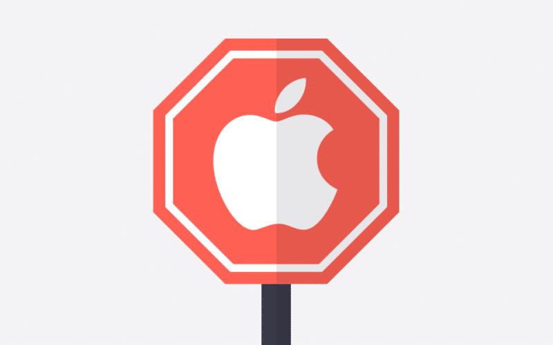 Logo da Apple com placa de Pare (ProtonVPN)