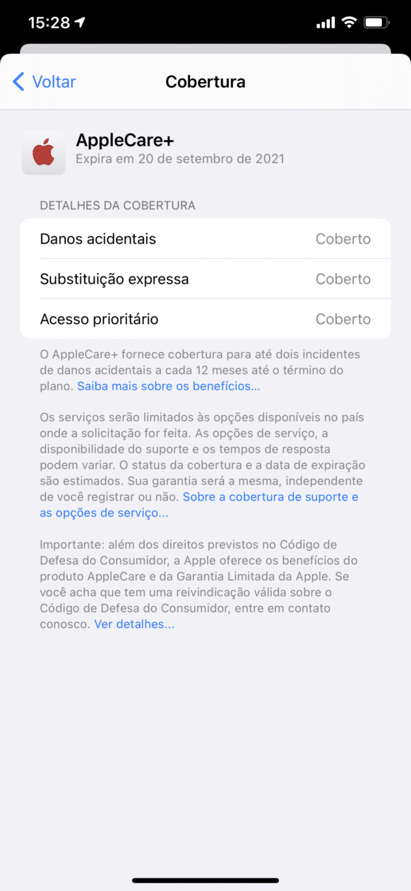 Informações de cobertura no app Suporte da Apple