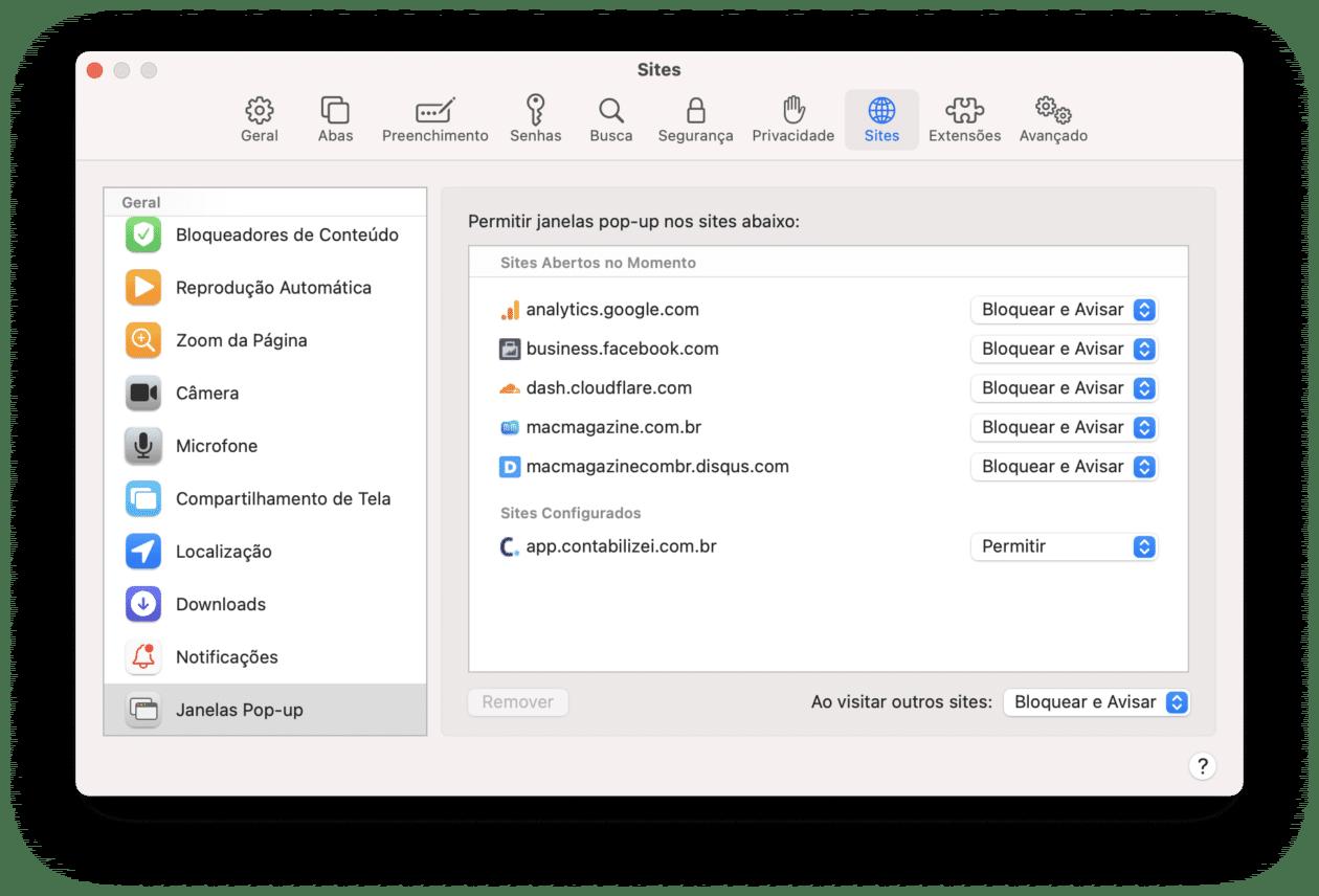 Bloqueando janelas popup no Mac