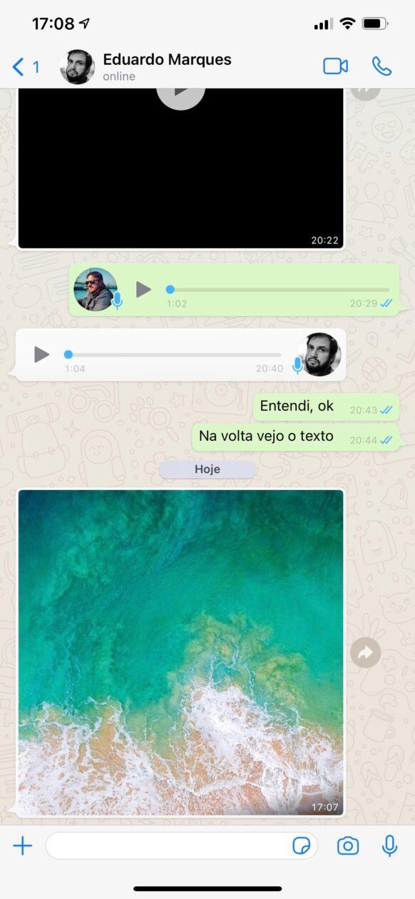 Visualizando uma imagem no WhatsApp (versão atual)