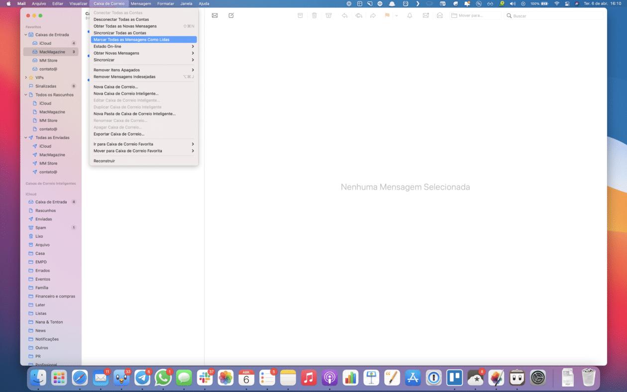 Marcar emails como lidos no Mail do macOS