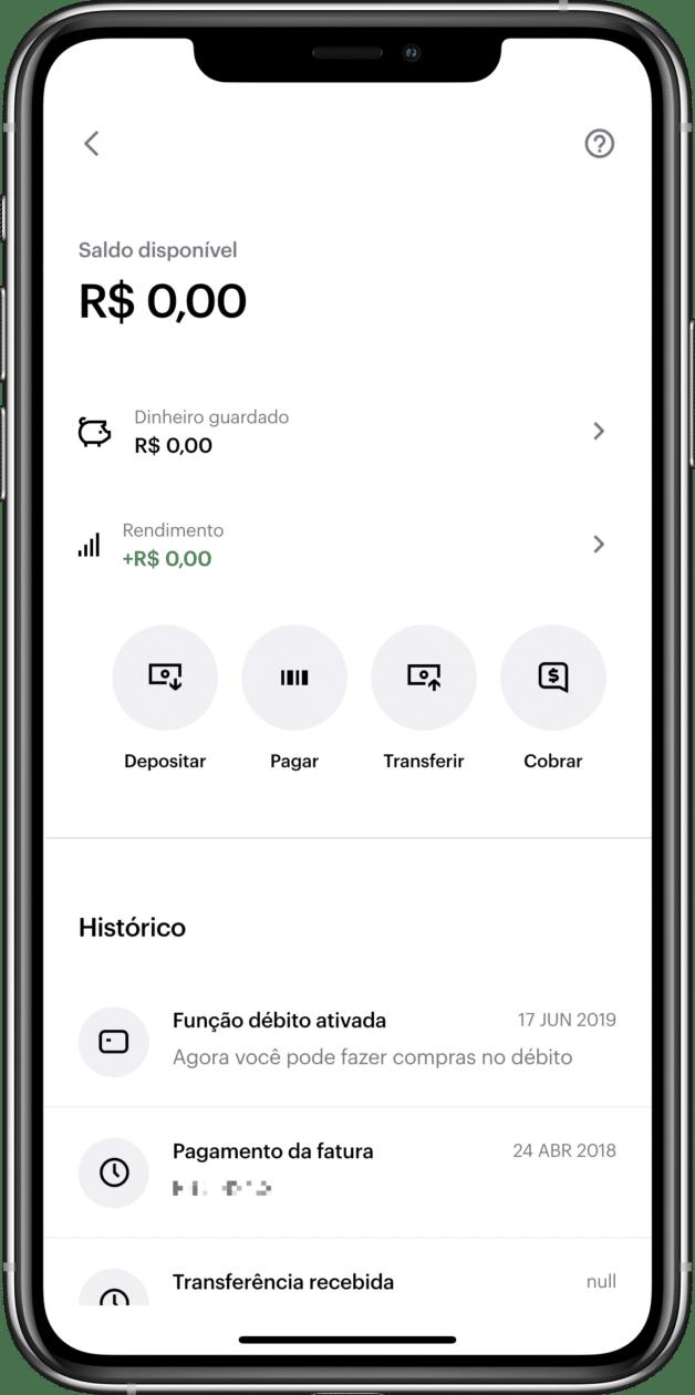Novo painel de contas do Nubank