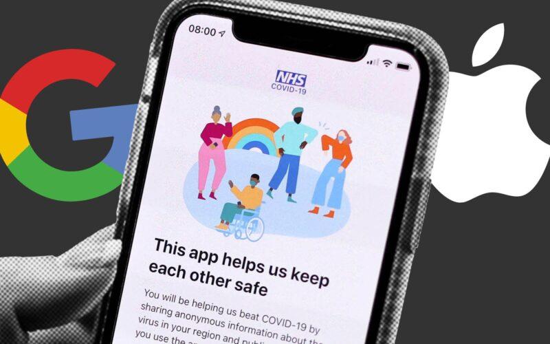 App NHS com símbolo da Apple e do Google