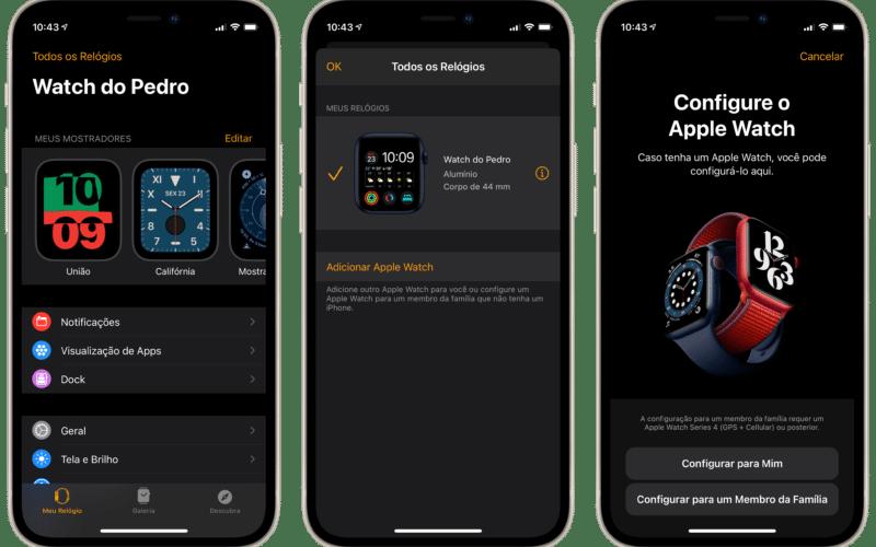 Emparelhando mais de um Apple Watch no iPhone