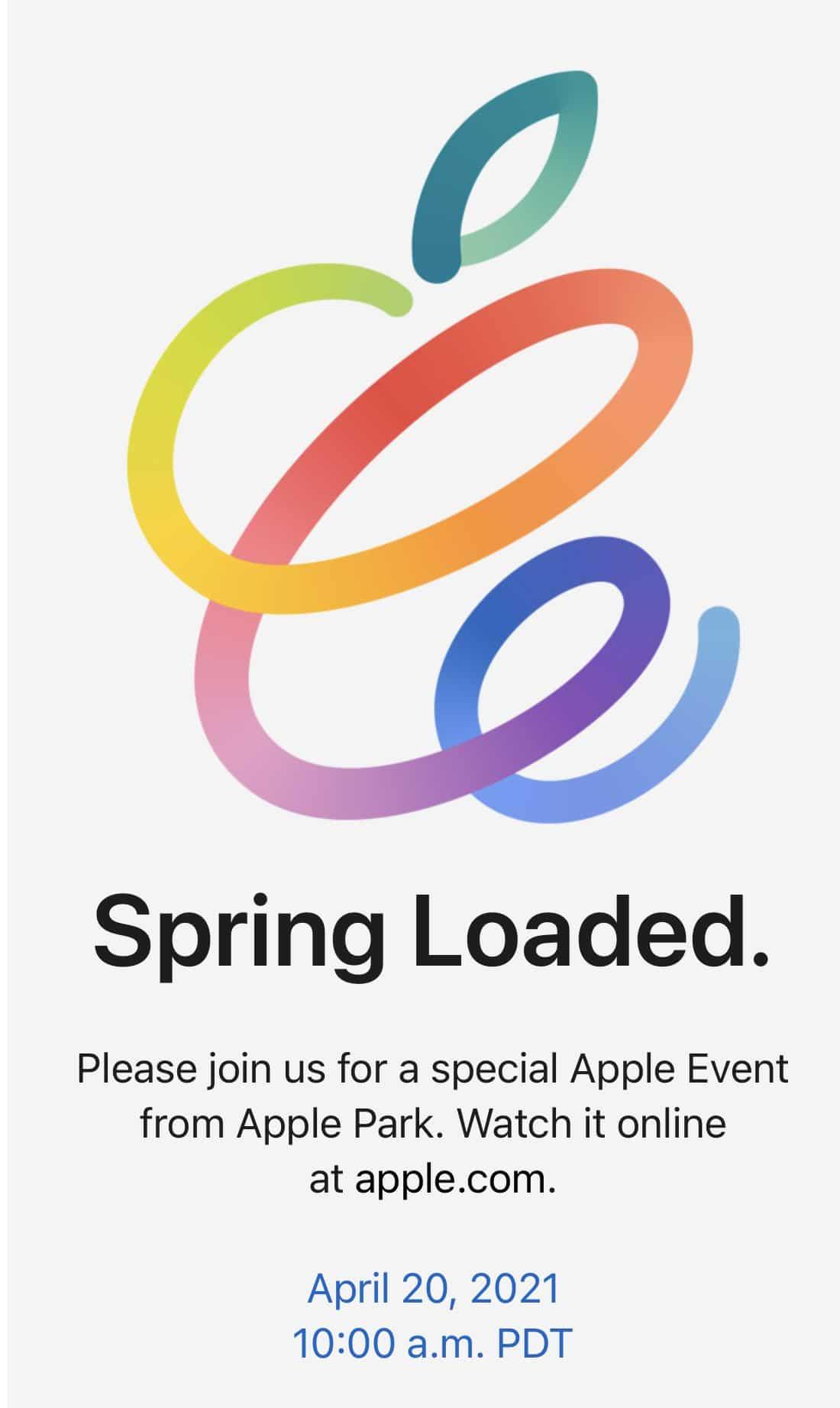 Convite do evento da Apple no dia 20 de abril
