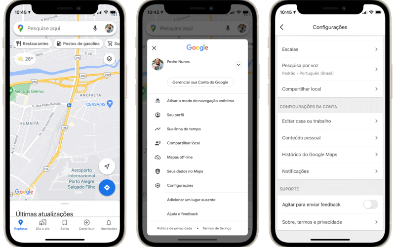 Histórico do Google Maps no iPhone