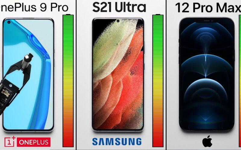 Teste de bateria: iPhone 12 Pro Max, Galaxy S21 Ultra e OnePlus 9 Pro