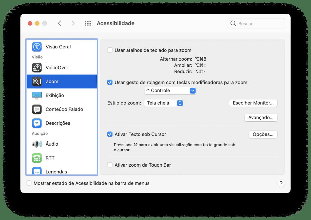 Texto sob Cursor, recurso de acessibilidade do macOS