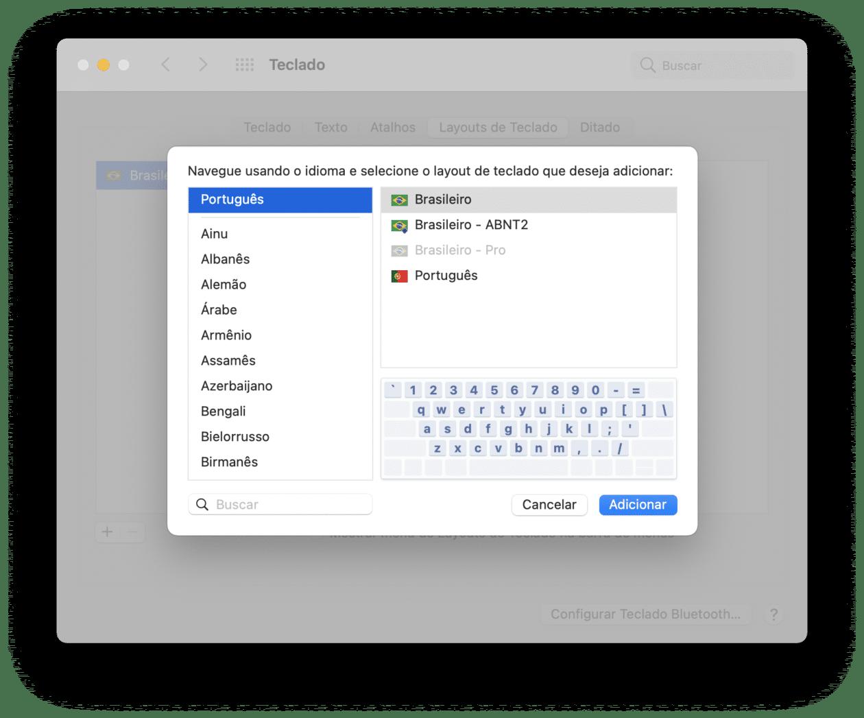 Mudando o layout de teclado do macOS