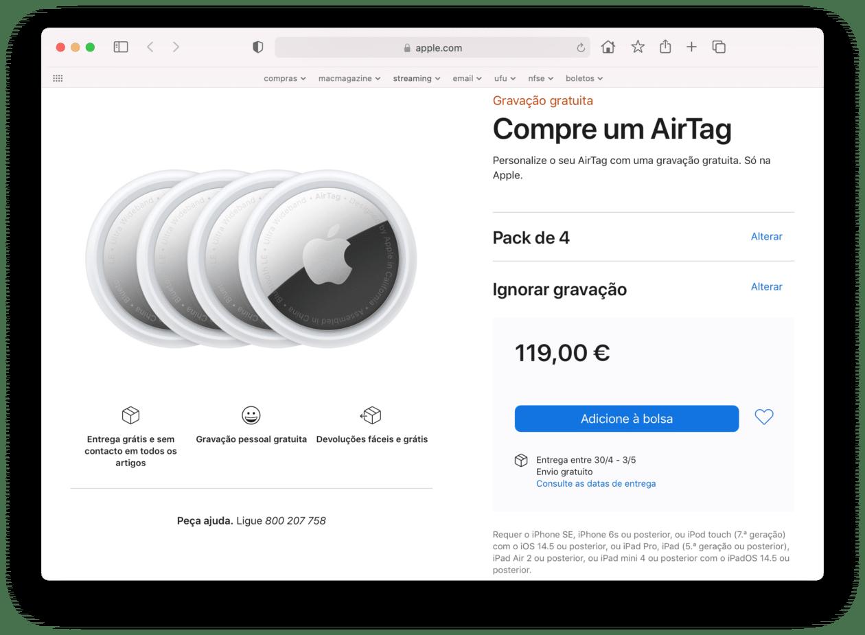Disponibilidade dos AirTags em Portugal