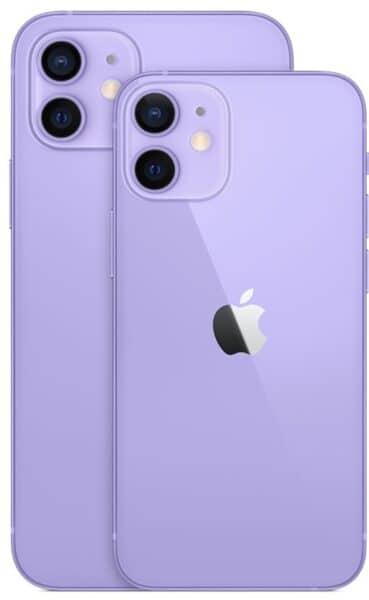 iPhones 12 mini e 12 roxo