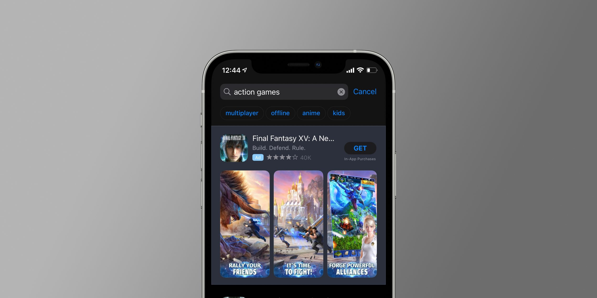 Tags de sugestões de busca na App Store