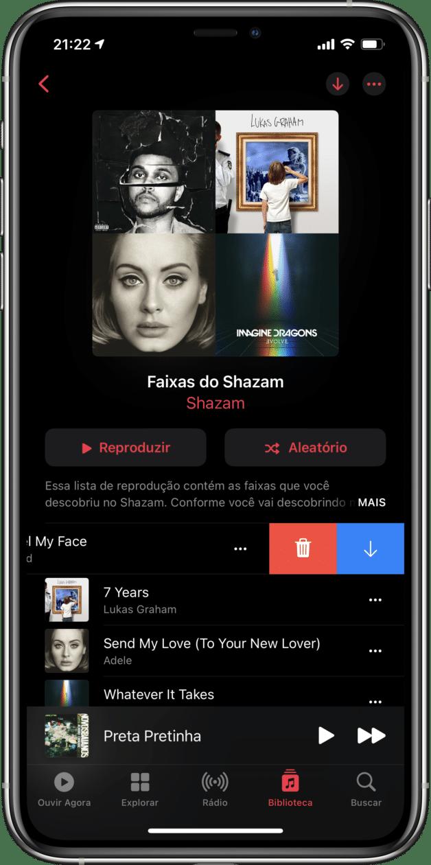 Apagando uma música da playlist ou da biblioteca no Apple Music