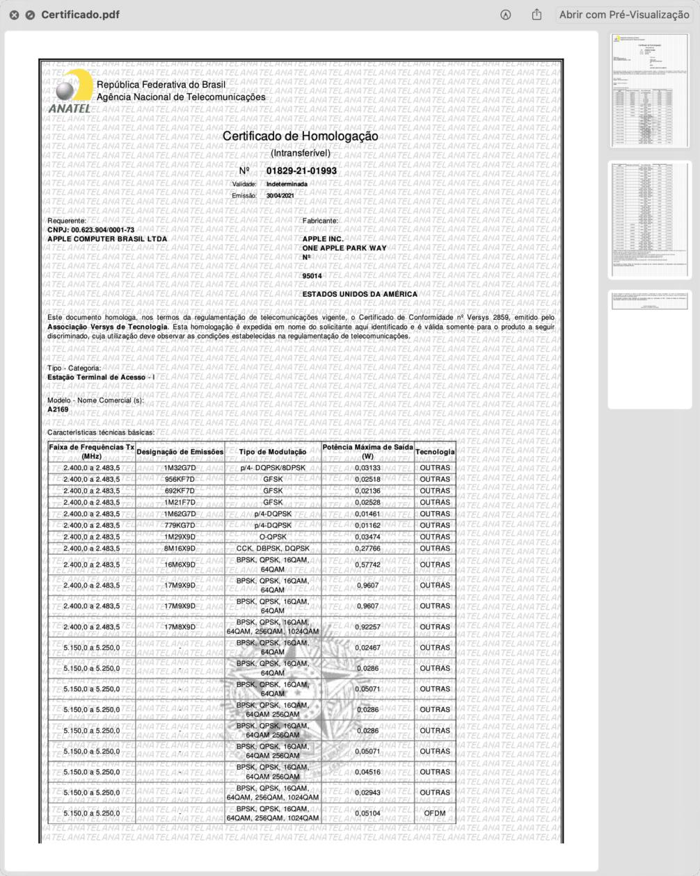 Certificado de Homologação da nova Apple TV 4K (A2169)