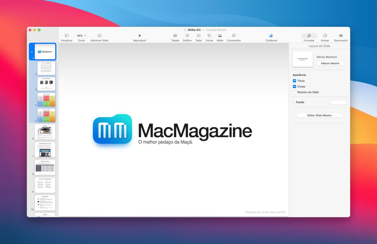 Agrupar slides no Keynote do Mac