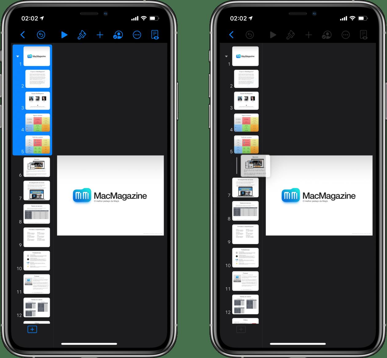 Agrupar slides no Keynote do iPhone