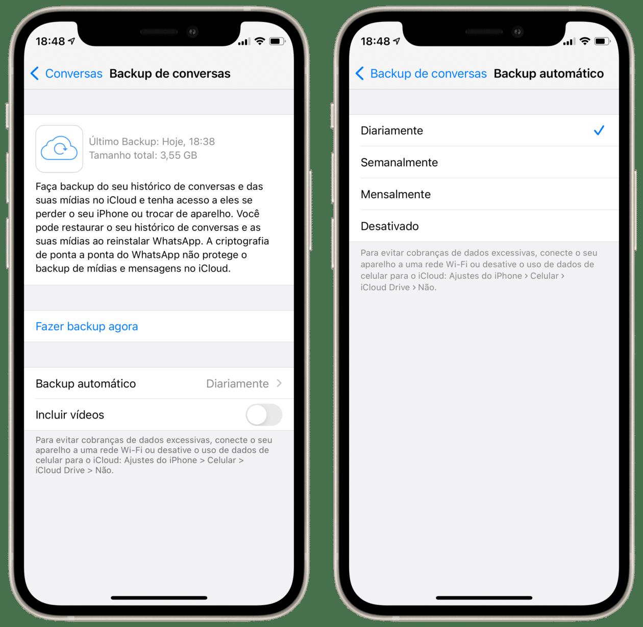 Escolhendo opções de backup automático no WhatsApp