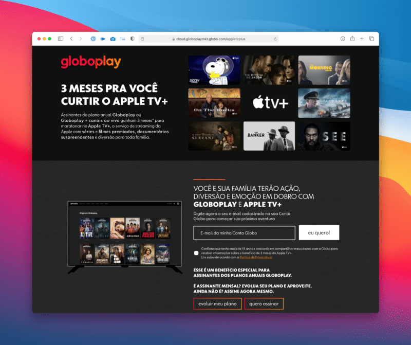 Globoplay dando 3 meses de Apple TV+