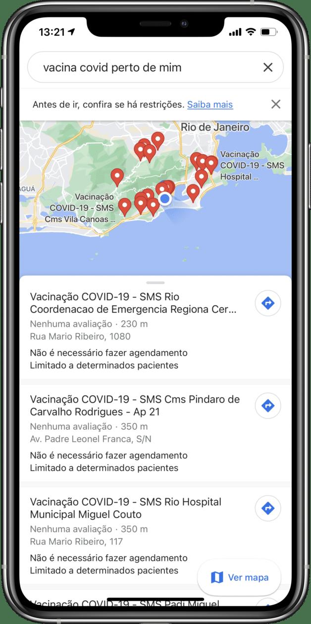 Locais de vacinação contra COVID-19 no Google Maps