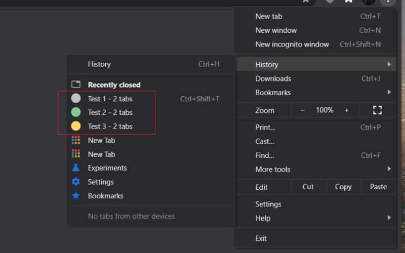 Recurso de reabrir grupos de abas no Google Chrome