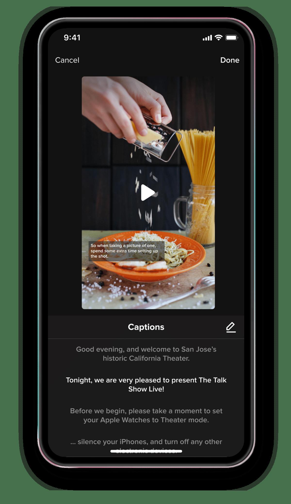 Recurso de legendas automáticas no TikTok