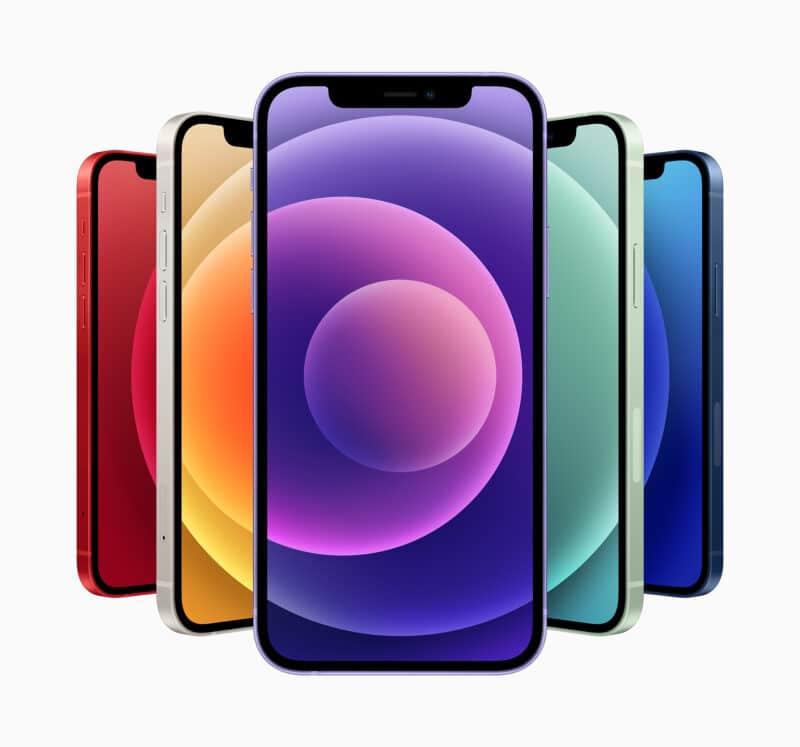 Todas as cores dos iPhones 12/12 mini, com destaque para a nova roxa