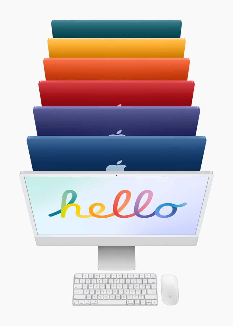 Toda a linha colorida de iMacs M1