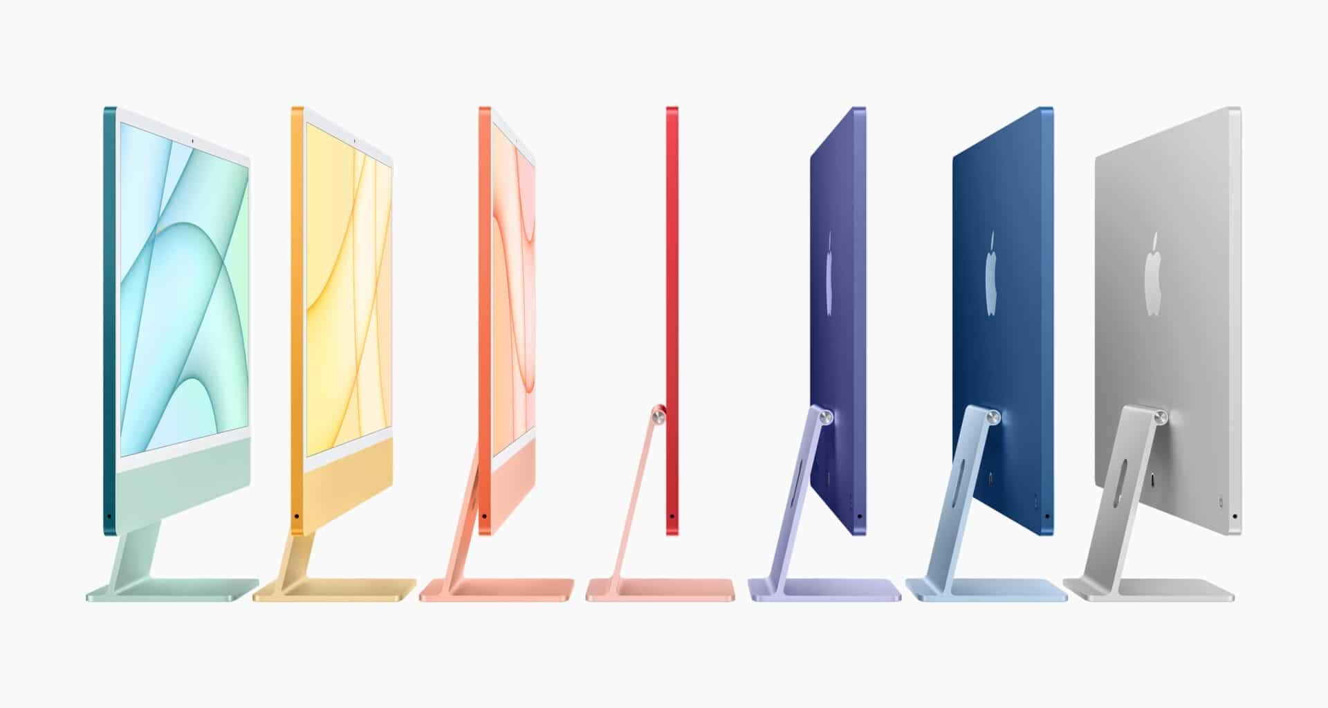 Família de novos iMacs de 24 polegadas com chip M1 coloridos de lado