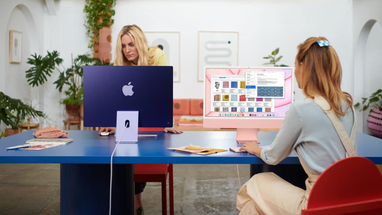 Mulheres trabalhando em dois iMacs M1 de 24 polegadas