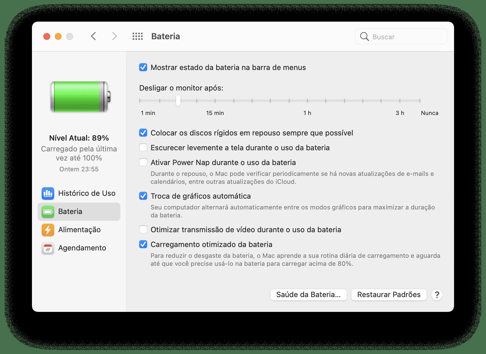 Ajuste de brilho máximo enquanto usa o Mac na bateria