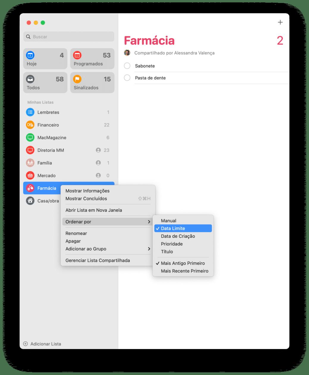 Ordenando lembretes no macOS 11.3
