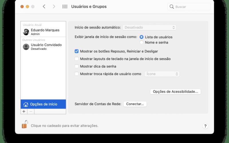 Opções de Início (Preferências do Sistema) do macOS