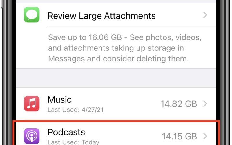 Espaço ocupado por podcasts no iPhone
