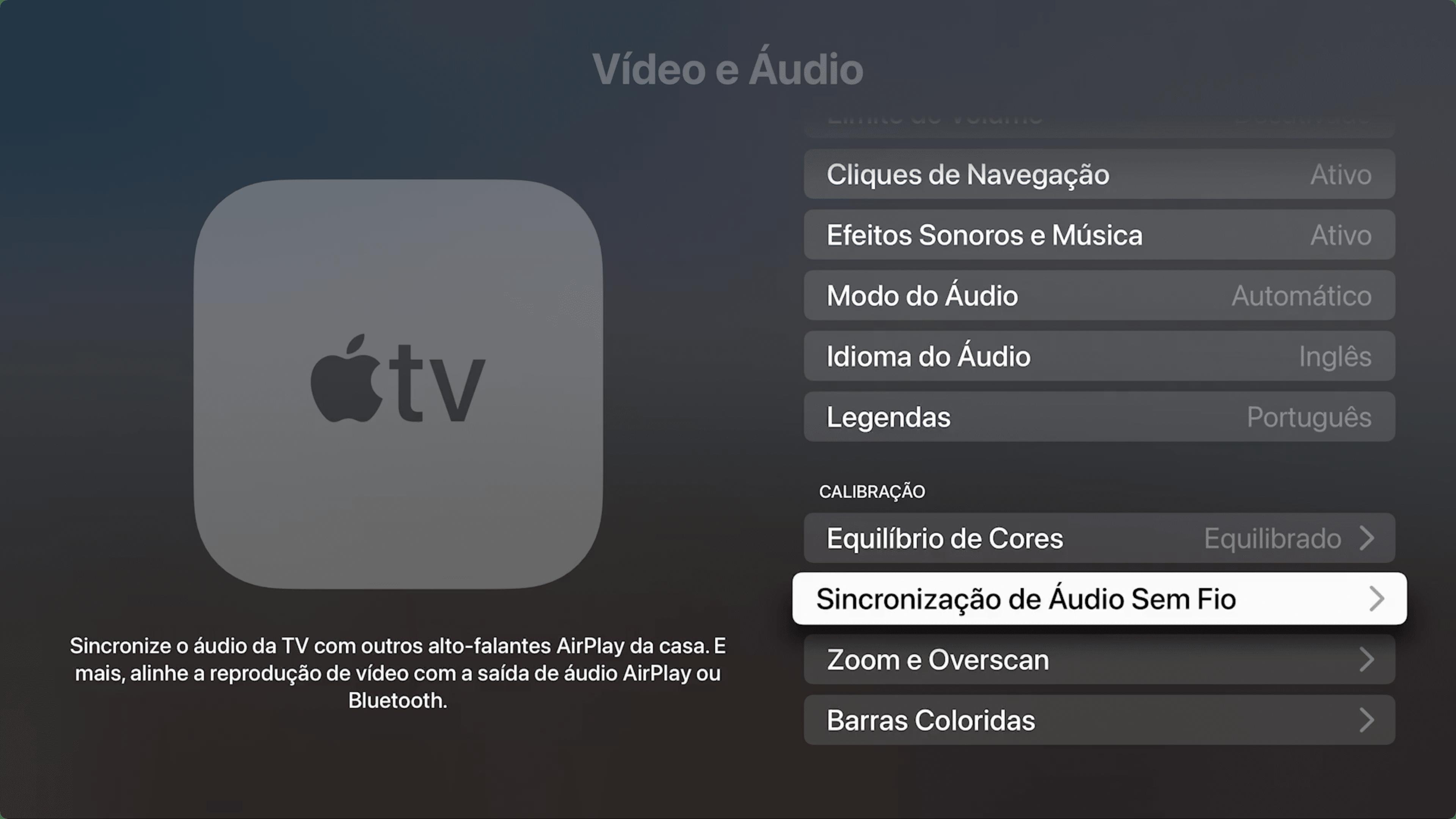Sincronização de áudio na Apple TV