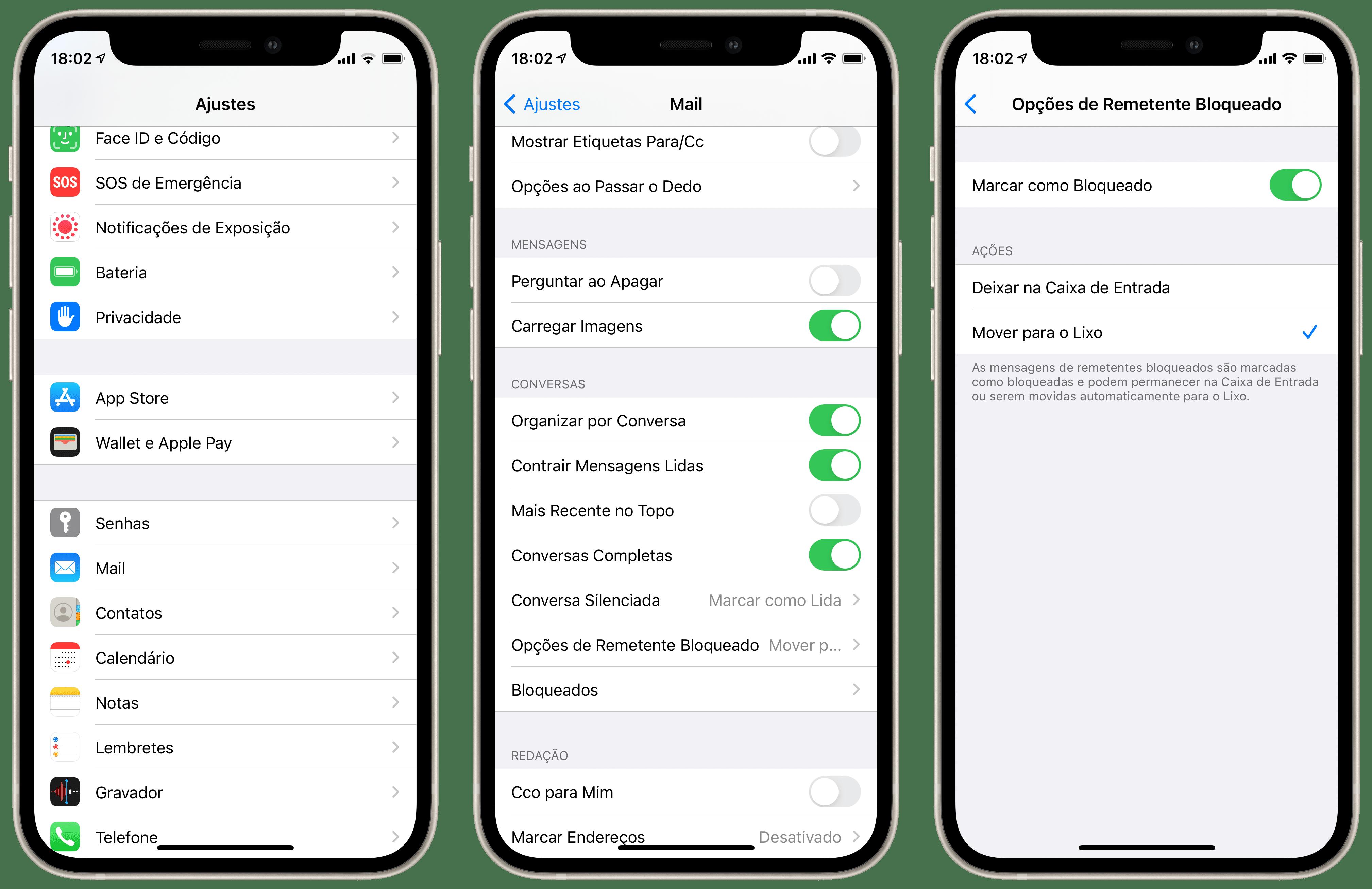 Movendo emails de contatos bloqueados automaticamente para a lixeira do Mail