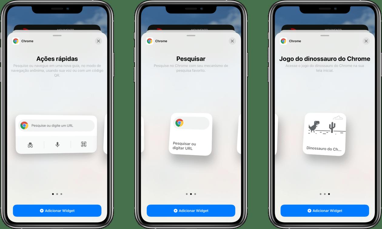 Novos widgets do Chrome 90 para iOS