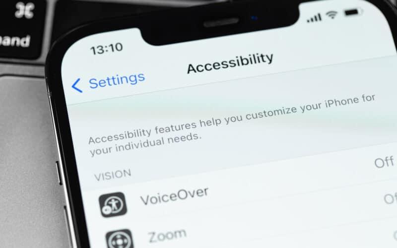 Tela de Acessibilidade num iPhone