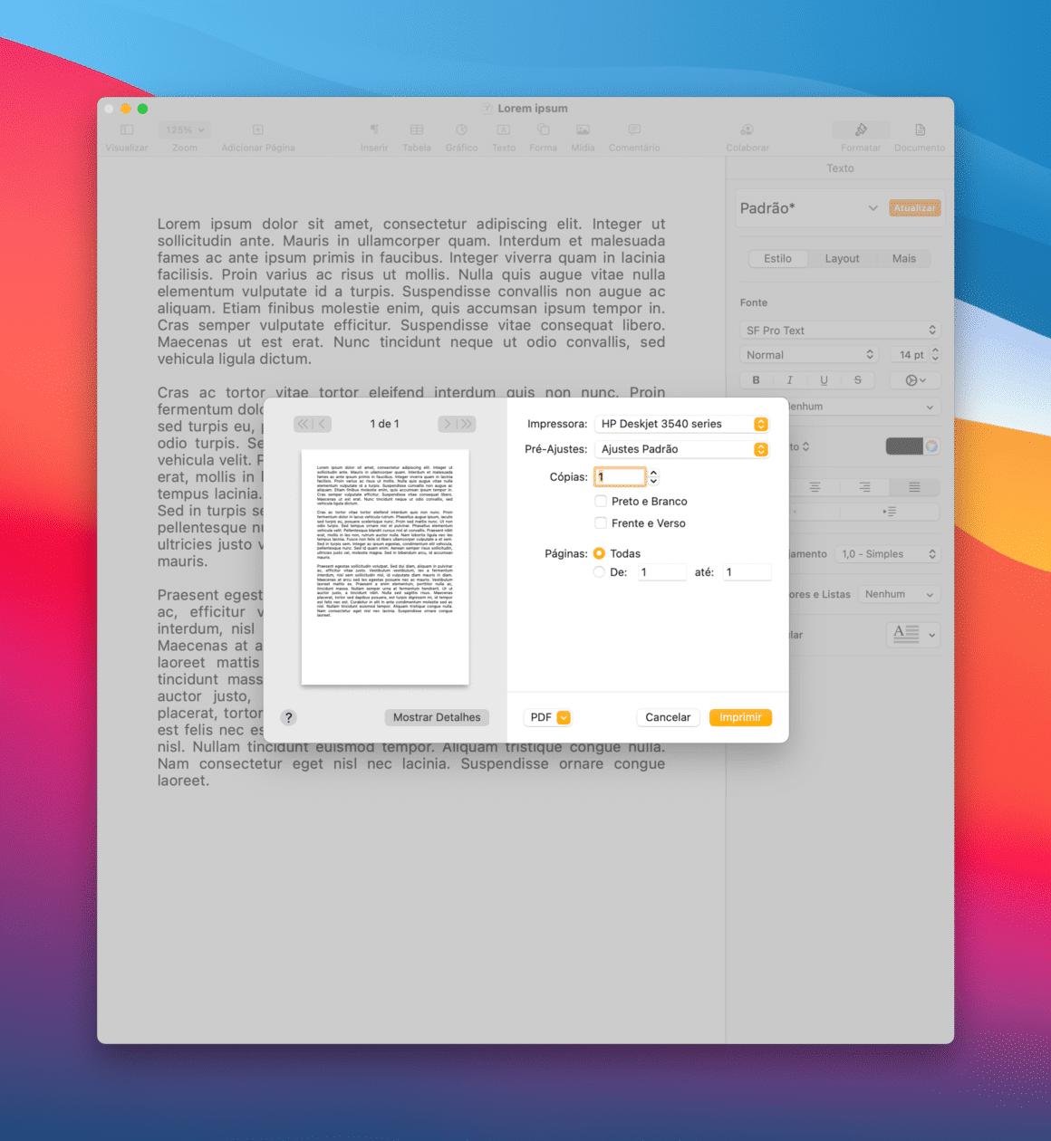 Imprimindo usando o AirPrint no Mac