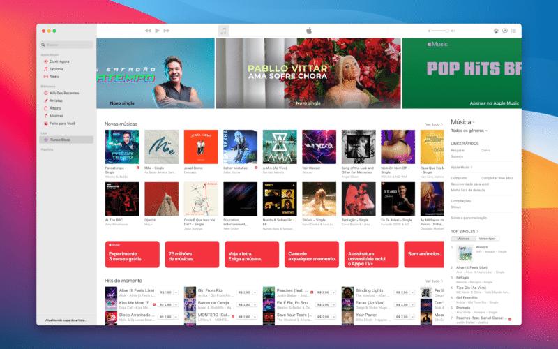 iTunes Store no app Música