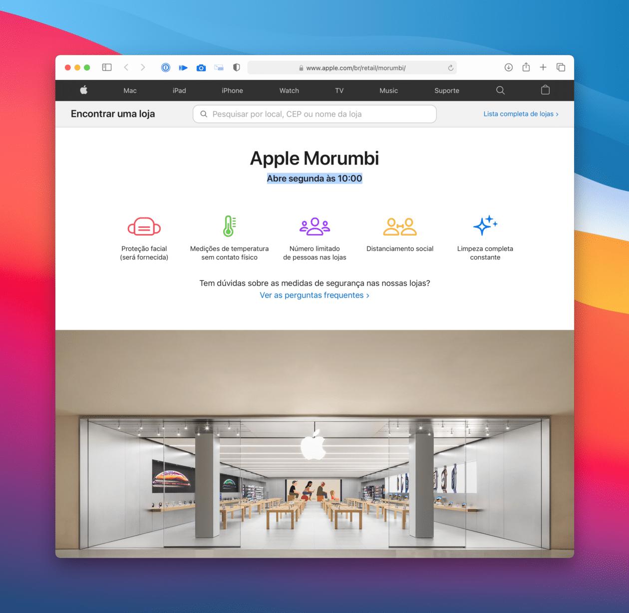 Página da Apple Morumbi