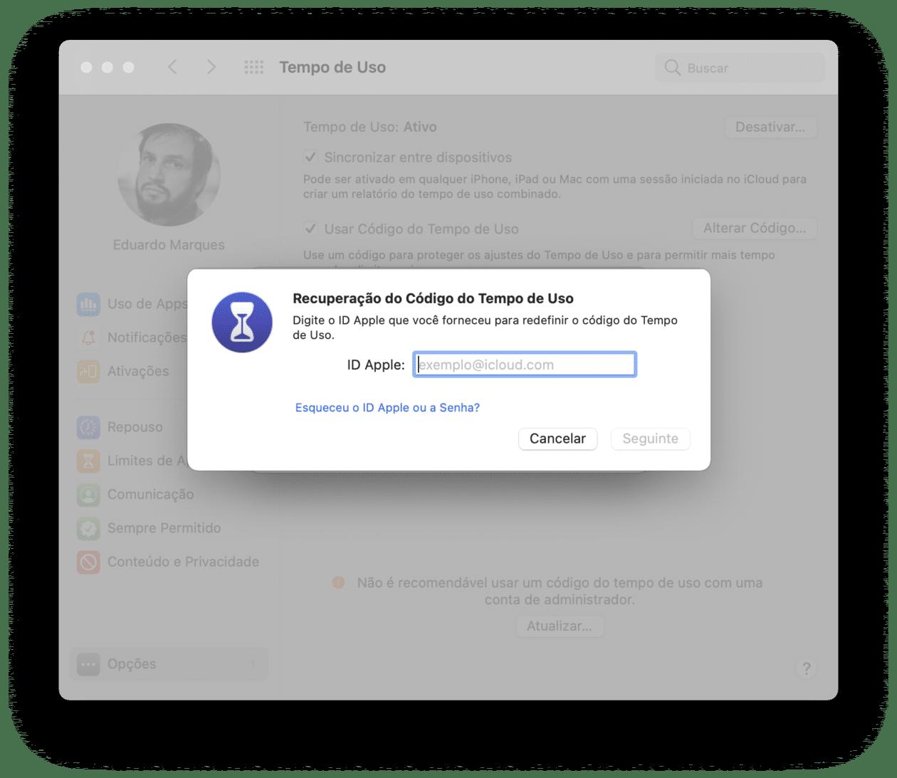 Redefinindo a senha do Tempo de Uso no Mac