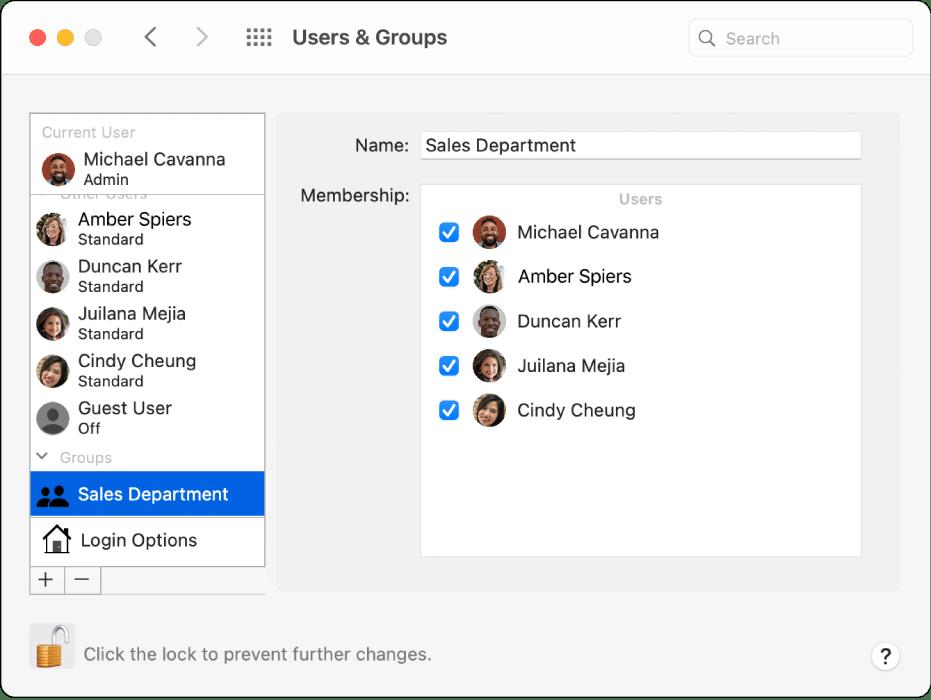 Grupo no macOS