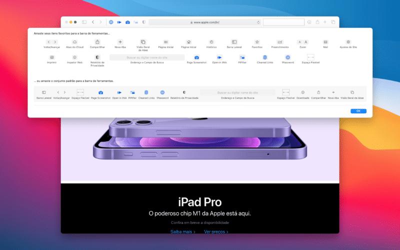 Personalizando a barra de ferramentas do Safari