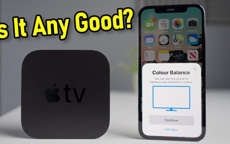 Teste de calibração da Apple TV pelo iPhone