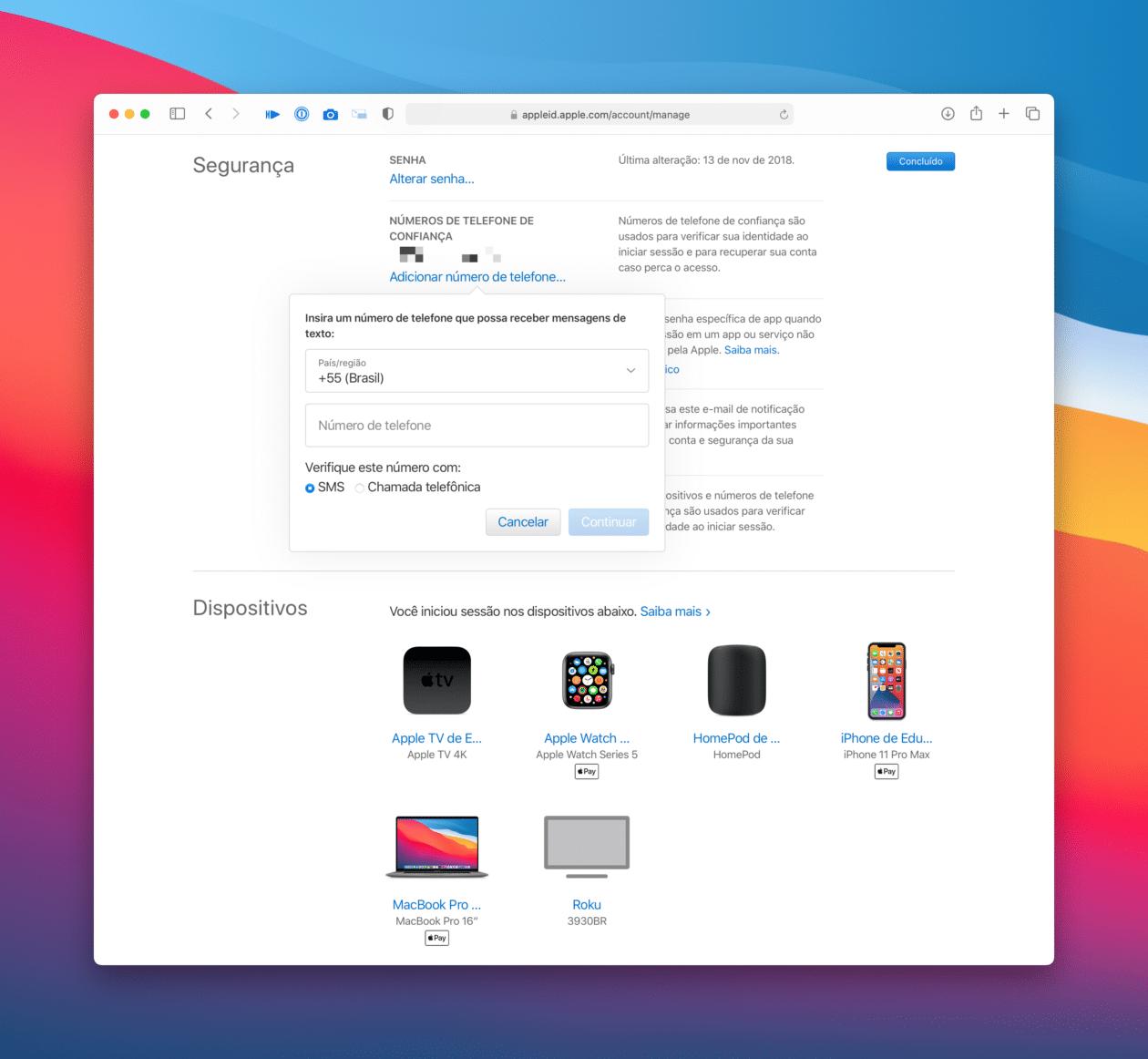 Número de confiança do ID Apple