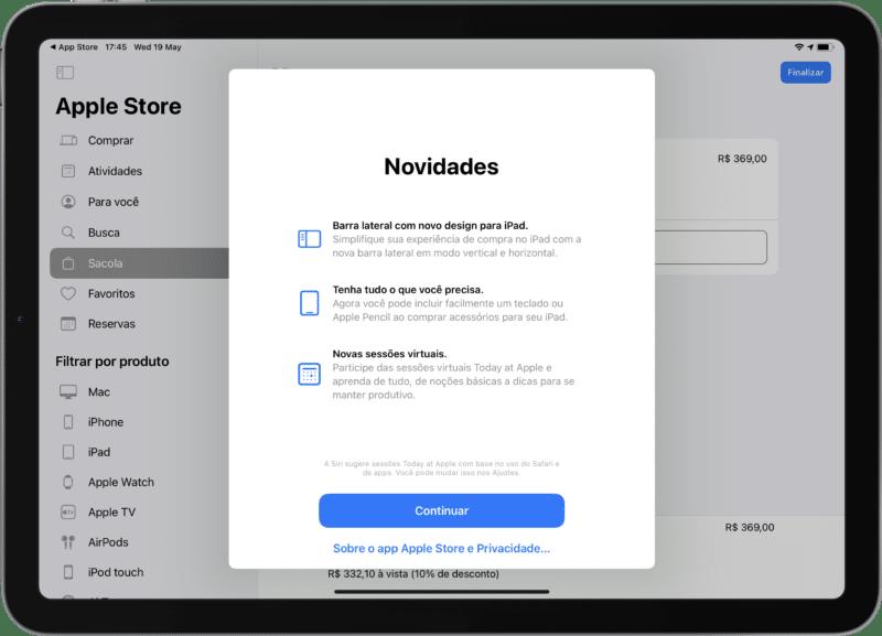 Atualização do aplicativo Apple Store