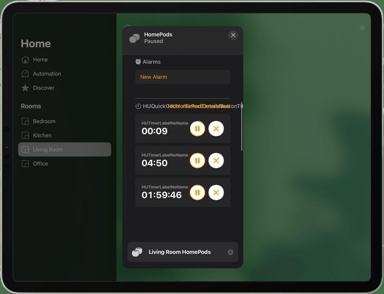 Timer do HomePod pelo app Casa