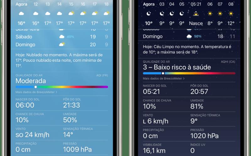 Qualidade do Ar no iOS 14.7